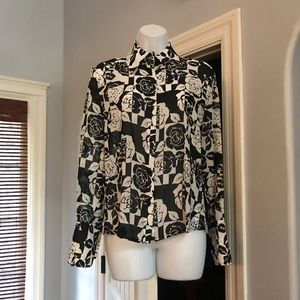 St. John black white silk rose print blouse size 6